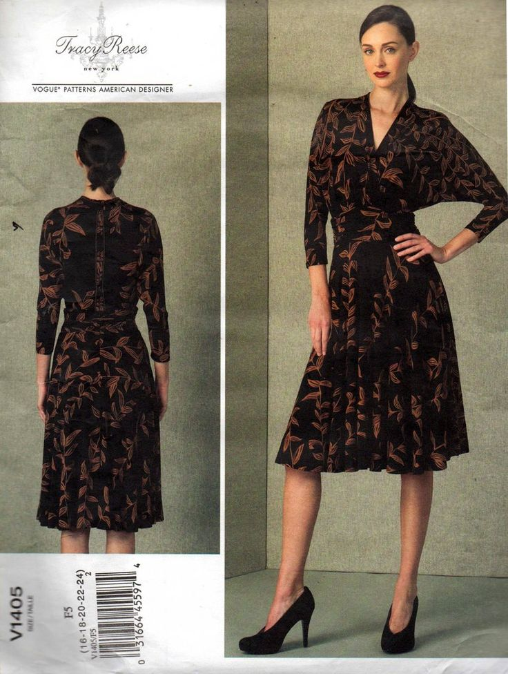 Vogue American Designer V1405 TRACY REECE Womens Stretch Lined Evening Dress Sewing Pattern Size 16 - 24 UNCUT Factory Folds