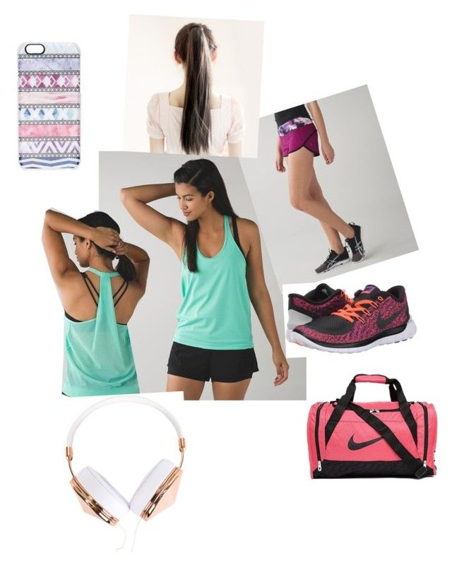 """""""working out"""" by fabulouschloe on Polyvore featuring lululemon, NIKE, Frends, Casetify, women's clothing, women, female, woman, misses and juniors"""