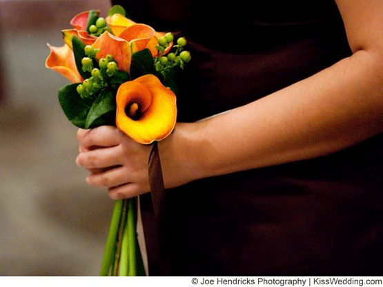 A small orange calla lily bouquet for a fall wedding for Simple fall bridesmaid bouquets