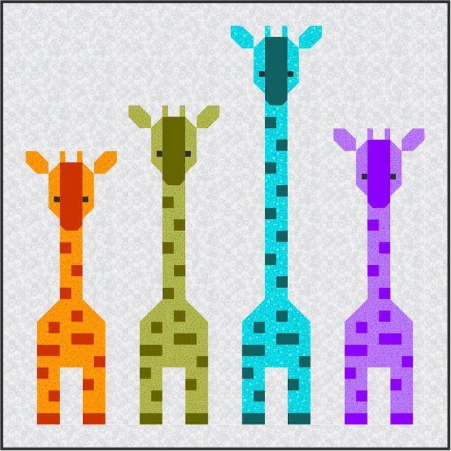 Instant Download animal Giraffe Family Quilt Pattern baby crib quilt PDF cute African modern patchwork gender neutral unisex