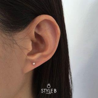 [Style B] 심플 은볼 귀걸이 2mm / Simple silver Ball earrings 2mm