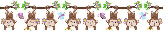 Monkey Wall Border in PURPLE for baby girl nursery or kids room decor #decampstudios https://www.etsy.com/listing/161933648/jungle-monkey-girl-wall-border-decals