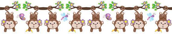 Monkey Wall Border in PURPLE for baby girl nursery or kids room decor #decampstudios https://www.etsy.com/listing/161933648/jungle-monkey-girl-wall-border-decals