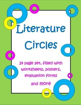 This Literature Circles Set has 24 pages filled with everything you'll need to do literature circles in your classroom. Literature Circles are like mini-book clubs where kids do jobs on a rotating basis. Jobs include discussion director, illustrator, word wizard, character critic, and summarizer/connector, $
