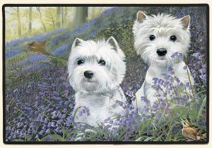 Westie Bluebells Fiddlers Elbow Doormat Rug by Fiddler's Elbow. $18.42. Superior stain resistance makes clean up quick and easy - spray with windex and rinse off.. Animal lovers, these mats are perfect for you!. Perfect for use as a decorative accent mat anywhere throughout your home.. Constructed of decorative polyester face, high density rubber back, durable polypropylene binding.. Features permanently dyed, vivid, fade-resistant colors. slide free coating.. 10...