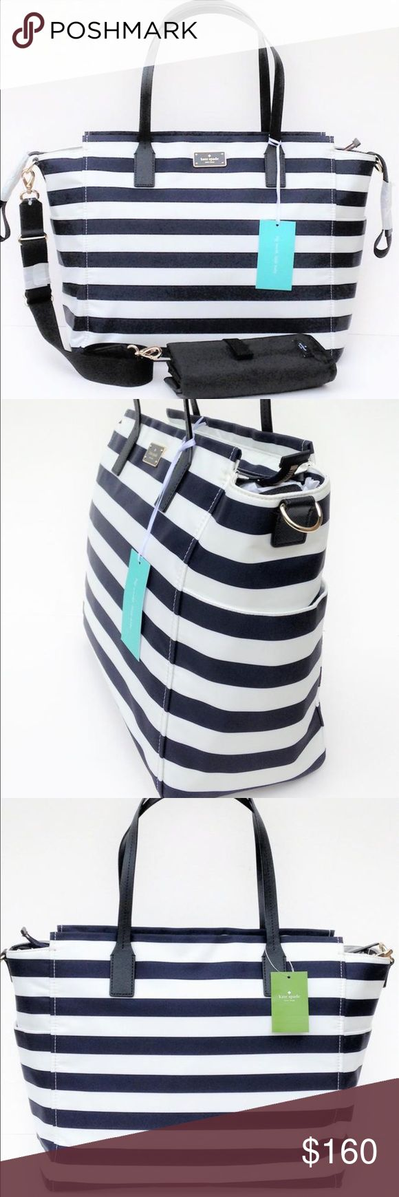 Kate Spade Diaper Bag This listing is for a beautiful brand new Kate Spade Taden diaper bag.easy to wash nylon material. The stripes are a cream and very dark navy blue color. At first glance it could pass as black. Hardware is a classy silver finish. Two exterior bottle pockets make things easy for a mom on the go! Beautiful leather shoulder straps and removable cross body strap allow this bag to be carried two ways. Zipper closure and multiple interior storage pockets. Diaper changing pad…