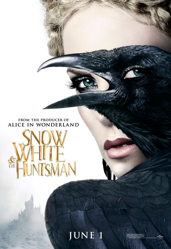 """This poster is from """"Snow White and Huntsman"""". The queen can change into a crow. Isn't this just a creepy picture? It's still a work of art, the person who designed it is a genius. It's a great perspective image because the eyes match perfectly."""