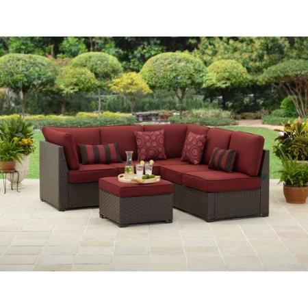 Better Homes and Gardens Rush Valley 3-Piece Outdoor Sectional Sofa Set, Seats 5