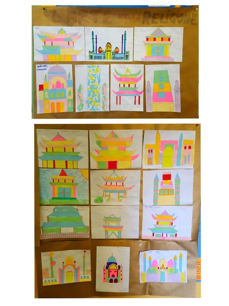 L'arte nella religione, lavoro svolto in 5°elementare di Mottalciata. Collaborazione tra Religione e Alternativa. Scelta tra 4 tipi di templi: moschea, sinagoga, tempio induista e buddista. Realizzazione con cartoncino colorato