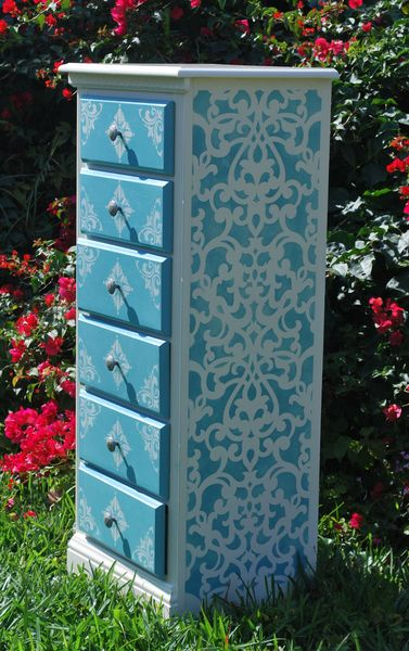 Donatella Damask Stencil on furniture piece by Valerie Krutz Marozzi | Royal Design Studio