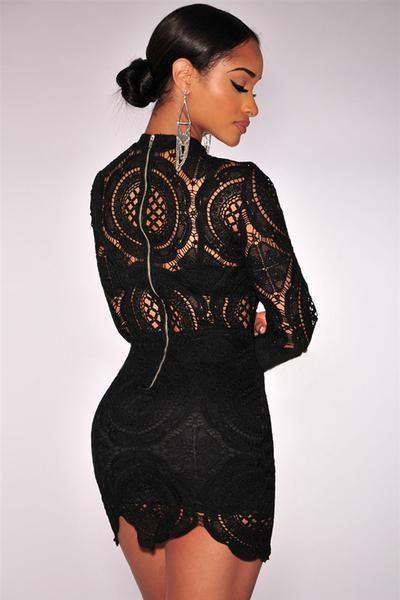 2cbc6c76fb07 Delicately Black Crochet Lace HerFashion Mini Dress in 2019 | girly ...