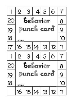 This is a behavior punch card that I use to reward positive behavior in my classroom. It includes 20 punches and a blank spot for student's name. When my students punch cards are full, they choose an item from the Best Behavior Book. It seems to be working very well in my classroom.