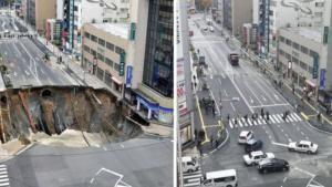 Sinkhole Telah Tertutup Jalan Sibuk di Fukuoka Kembali Dibuka
