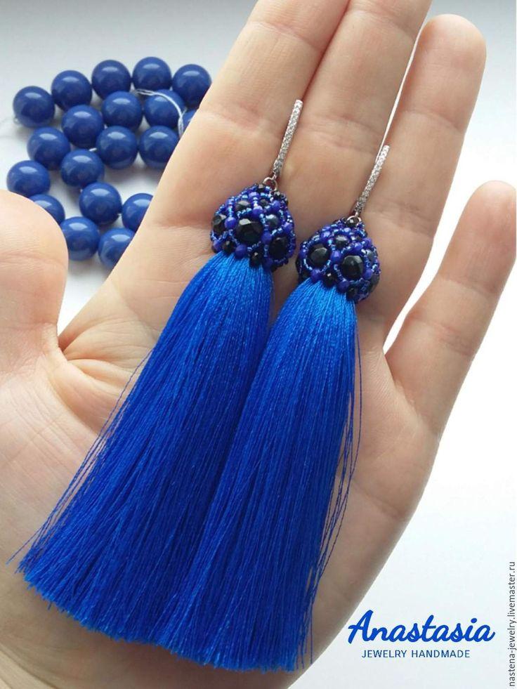 Купить Серьги-кисточки - тёмно-синий, синий, серьги, серьги ручной работы, черный