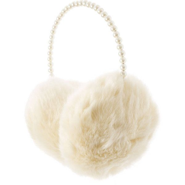 Pearl and Ivory Faux Fur Ear Muffs ($35) ❤ liked on Polyvore featuring accessories and faux fur earmuffs