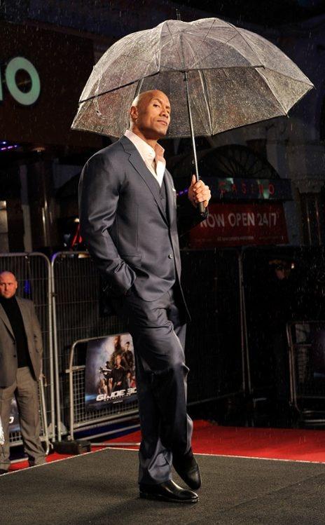Dwayne Johnson  Rain? What rain? The G.I. Joe Retaliation star sizzles at the films London premiere.