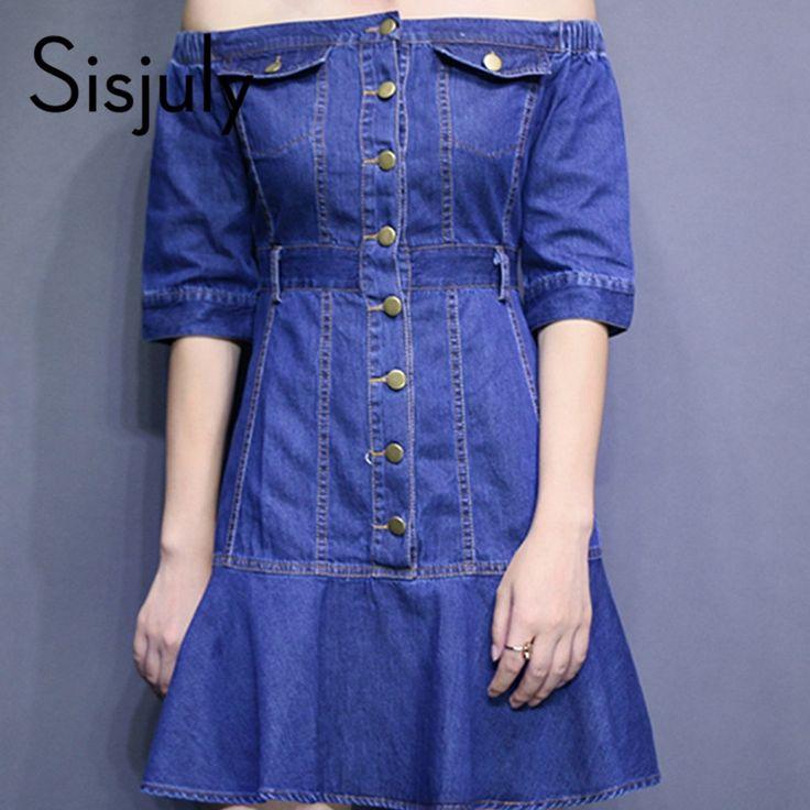 Sisjuly fashion women denim dress summer blue mini dress sexy short party dress cute patchwork women dress cheap
