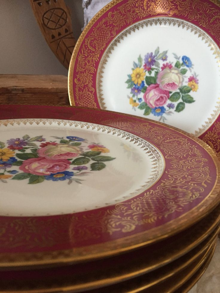 Set of 6/Rosenthal/Thomas/Continental/dinner plate /plates/set of 6/Hollywood Regency/floral/burgundy/gold detail by WifinpoofVintage on Etsy