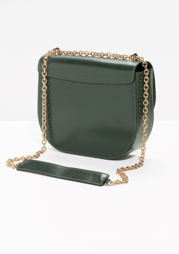 & Other Stories image 4 of Chained Leather Saddle Bag  in Green