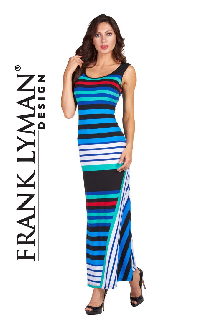 Frank Lyman Design. Gorgeous maxi dress in bright vivid colors. Proudly Made In Canada