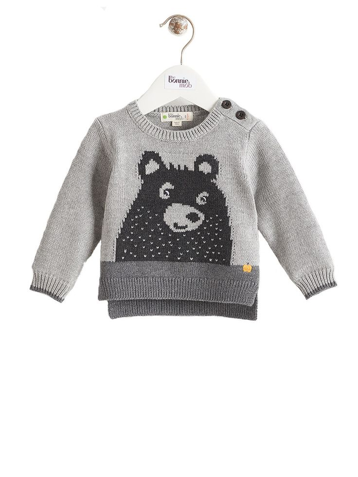 Bear Intarsia Jumper by The Bonnie Mob in tones of grey. Super cool baby clothes for boys or girls part of our range of funky baby clothes at Crab and The Fox.