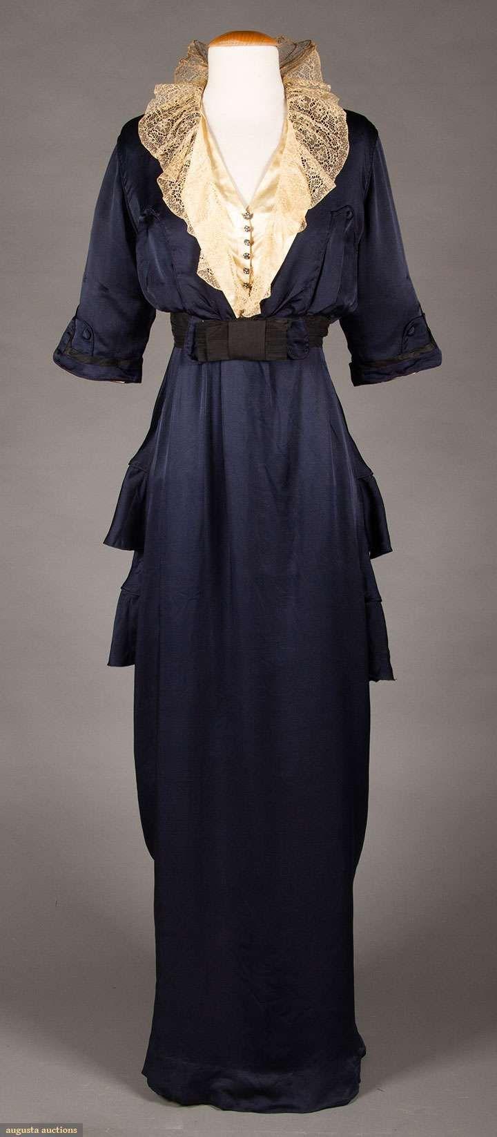 NAVY SILK HOBBLE-SKIRT DRESS, c. 1913 Upcoming Sales