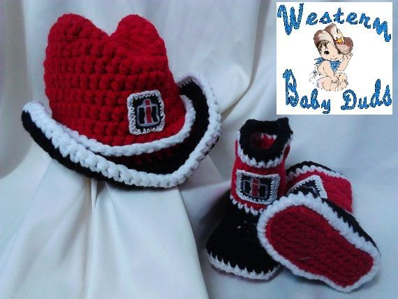 International Harvester inspired Baby Cowboy Hat and Booties on Etsy, $35.00