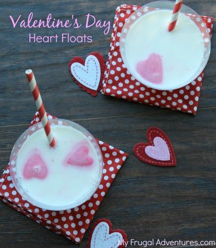 Valentine's Day Heart Floats for Kids-  try pink hearts in milk or fresh fruit in water or lemonade.  Simple and so fun!