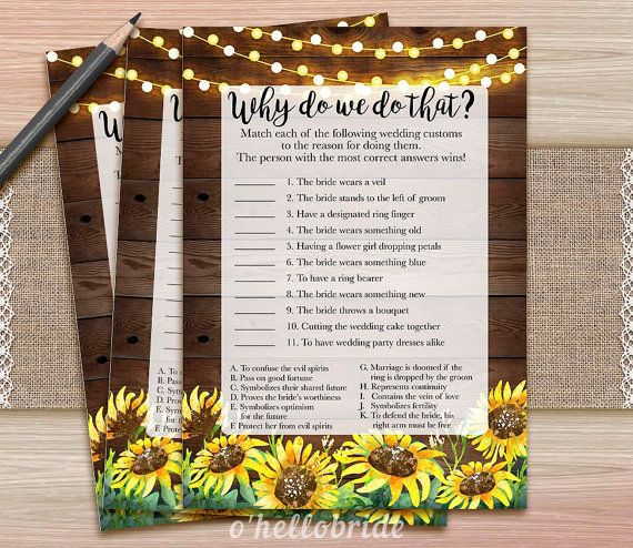 ★ This listing is for a DIGITAL INSTANT DOWNLOAD FILE only. No physical items will be shipped ★ Printable Why Do We Do That Bridal Shower Game − − − − − − − − − − − − − − − − − − − YOU WILL RECEIVE − − − − − − − − − − − − − − − − − − − - JPG files - Each game card is 5 x 7. Prints on