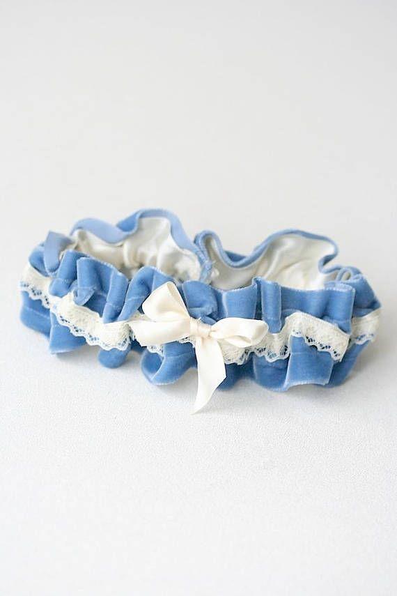 Ivory Lace and Blue Velvet Wedding Garter - a hand made heirloom bridal garter from The Garter Girl  Click her to shop the collection >>>>  #garter, #weddinggarter, #bridalgarter, #bride, #wedding, #thegartergirl, #gartergirl, #modernheirloom #tooprettytootoss