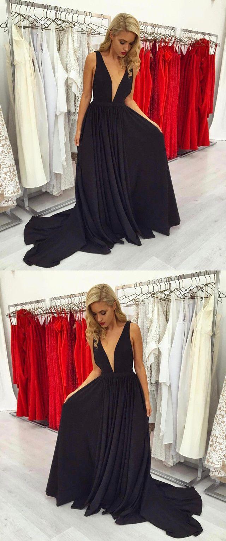 New fashions prom dressstylish aline black prom dresssexy v neck
