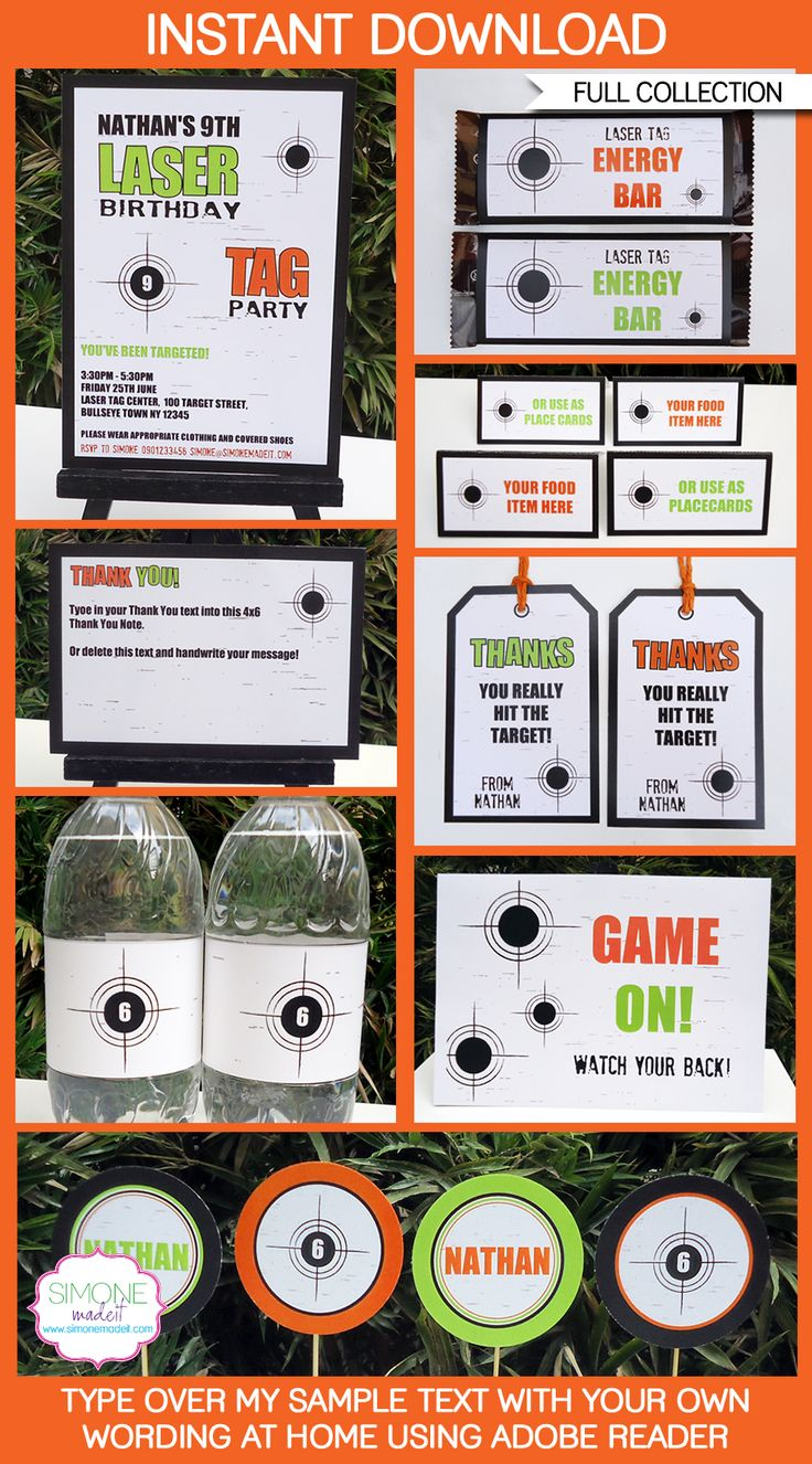 Instantly download my Laser Tag Birthday Party Printables & Invitations! Personalize the templates easily at home & get your Laser Tag party started now!