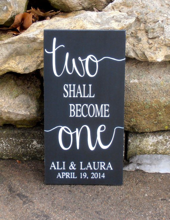 Items Similar To Two Shall Become One Personalized Wood Sign Custom Wedding Plaque Name And Date On Etsy