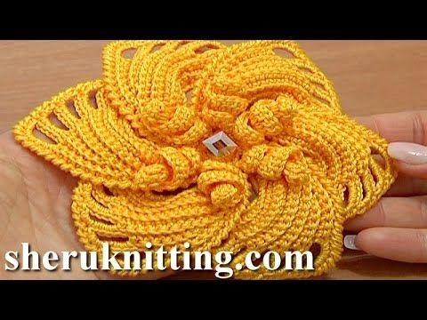 Crochet 6-Petal Flower Spirals In Center Tutorial 59 Part 2 of 2 Reverse Single Crochet Trim - YouTube