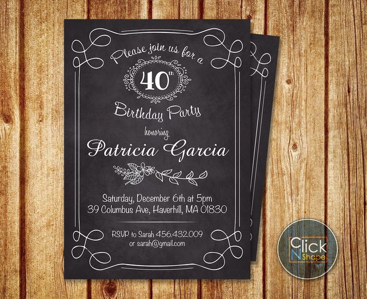 Women 30th 40th 50th 60th Birthday Invitation // Adult Birthday Invitation // Floral Birthday Invitation // Chalkboard Vintage // Printable by ClickNshape on Etsy https://www.etsy.com/listing/212990255/women-30th-40th-50th-60th-birthday