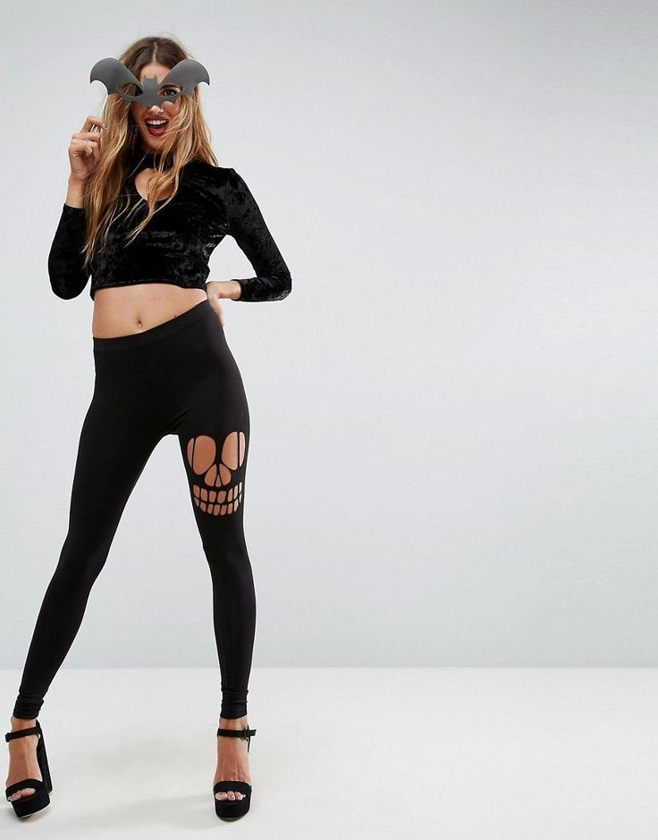 ASOS HALLOWEEN Legging with Skull Rip - Black