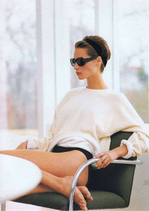 The ultimate modern luxury of a white cashmere sweater. Christy Turlington by Brigitte Lacombe, 2003.