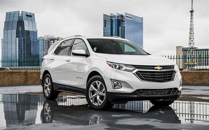 Download wallpapers Chevrolet Equinox, 2018, white crossover, new cars, white Equinox