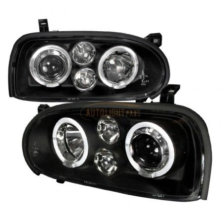 Spec-D LHP-GLF92JM-TM | 1996 Volkswagen Golf Chrome/Clear Halo Projector Headlights for Coupe/Sedan/Hatchback/Wagon