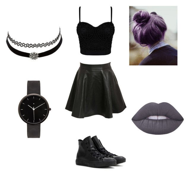 Dark Knight by amandasrungano on Polyvore featuring polyvore Pilot Converse I Love Ugly Lime Crime Charlotte Russe fashion style clothing