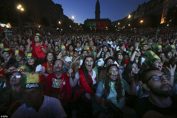 Fans at the public viewing of the game implore their team forward withAllies Avenue, Port...