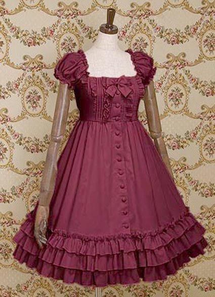 Cuff Sleeves Single Breasted Ruffled Cotton Lolita Dress