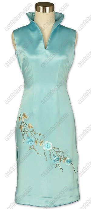 Designer Cheongsam - Yazhi Floral Embroidered Silk Dress