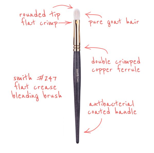 #247 Flat Crease Blending Brush Using extremely soft natural goat hair, this brush allows you to continually blend from the crease to the outer corner of the ey