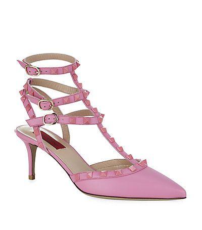 Pink Valentino Rockstud Heels #shoes #valentino #rockstud #pink