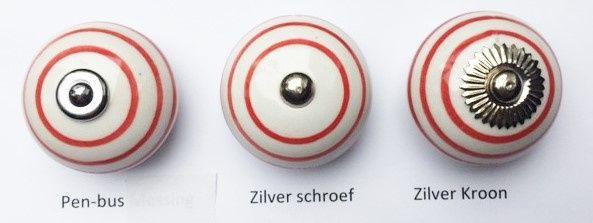 032 (PB) Kastknop met rode strepen