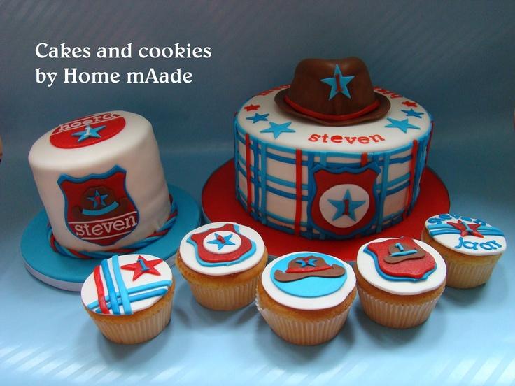 Taart en cupcakes voor Stevens 1e verjaardag