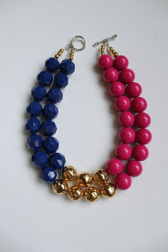 BACK IN STOCK!!! The Mackenzie - color block navy, dark pink and gold statement necklace