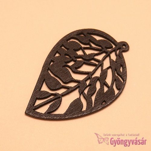 Fekete levél - fa medál