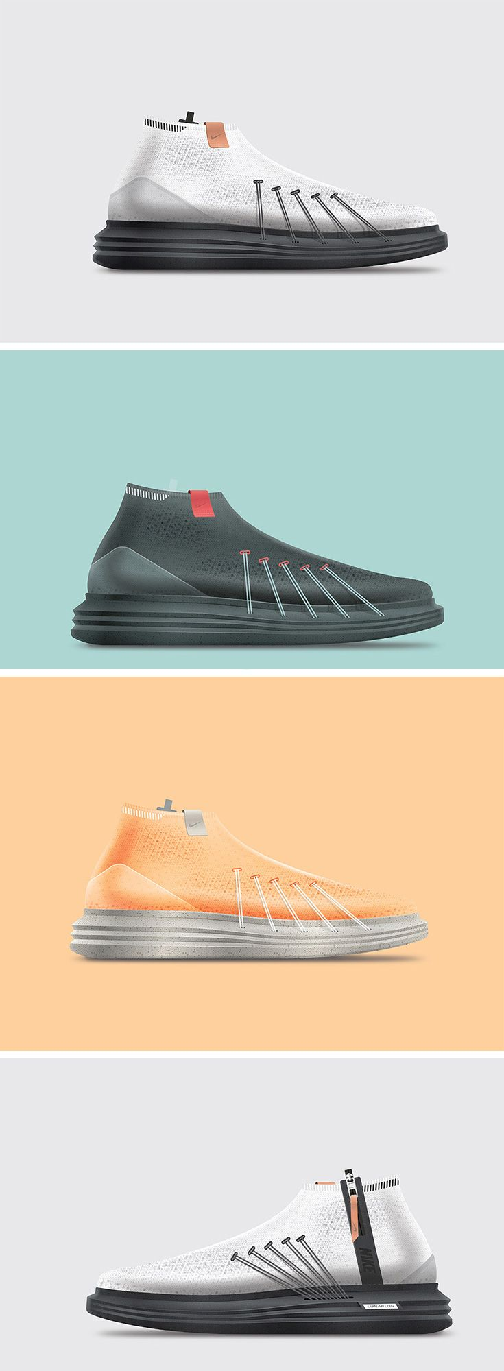 Since 2008, Nike's Flywire design has continued to evolve, but most have integrated the strategically placed cables beneath textile. Rather than hide this dynamic tech, the Nike Untitled 7 shoe concept highlights it as a primary footwear feature. The Flywire is stretched and extends through the sole to the upper portion of the shoe, much like a suspension bridge. The cables wrap over the top of the foot onto the other side of the shoe, securing the foot to the sole and upper.